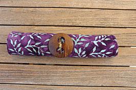 Sarong dunkellila mit Blättern in türkis