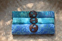 Dreier-Set: in grün - blau mit Tupfer und Ornamenten in türkis