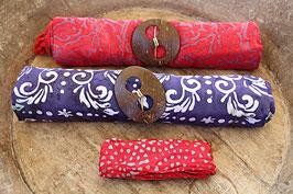 Sarong-Set rot/lila und lila/weiß + Bandana rot