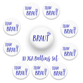 Team Braut Buttons x 10 Blau 59mm