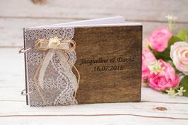 Hochzeitsgästebuch Gästebuch mit Spitze und Blume