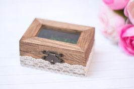 Glass Ring Bearer Wedding Wooden Box Moss Pillow