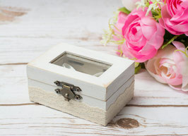 White Glass Ring Box