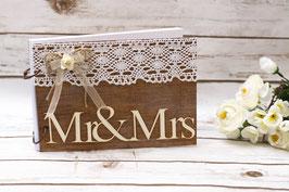 Gästebuch Hochzeit A5 mit Rose und Spitze Mr und Mrs