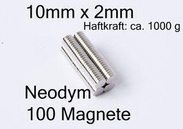 100 Magnete 10mm x 2mm
