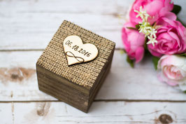 Wedding Ring Box Infinity Burlap Ring Bearer Square