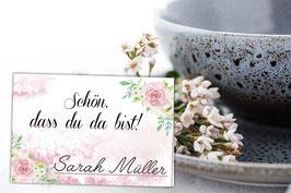 Tischkarten Rosa Hochzeit mit Foto Aufgaben