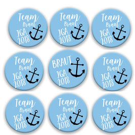 Maritime Buttons Blau Set aus 9  59mm