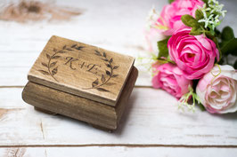 Rustic Wedding Ring Box with Initials and leaves
