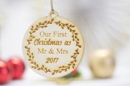Mr Mrs Weihnachtskugel Holz 2018