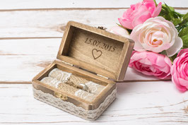Wedding Ring Box with Heart on the lid