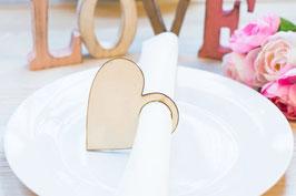 Herz Serviettenringe aus Holz 9cm Serviettenhalter