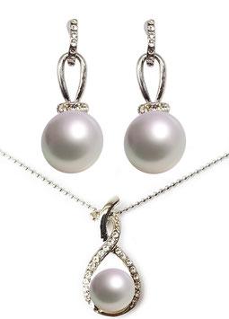 Perlen Schmuck Set Ohrringe und Halskette