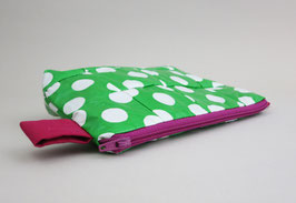Small, Green Cosmetic Bag with White Polka Dots