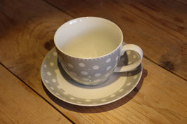 "Krasilnikoff Teacup with Saucer ""Grey Dots"""