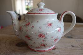 GreenGate Teapot round Flora white