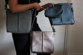 ZAZAZ Kunstledertasche mit kleiner extra Tasche und langem Gurt