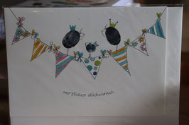 "KRaejen Doppelkarte "" Herzlichen Glückwunsch"""