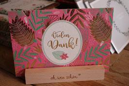 Art Holzschliff Postkarte Palmwedel Vielen Dank