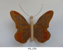 Papillon (PPE_1706) - Une face marquetée (3 couleurs) - décoration à suspendre