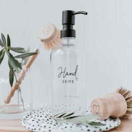 "Seifenspender ""Handseife"" Glas transparent"