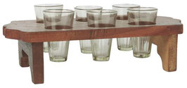Unika Holztablett mit 6 Glasvasen