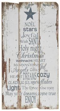 Holzschild Weihnachtstext grau/grün