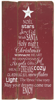 Holzschild Weihnachtstext rot