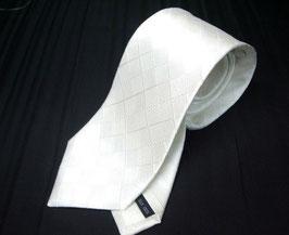 慶事用 白 家紋入りネクタイ  格子柄 丸に抱き茗荷