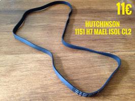 COURROIE LAVE-LINGE : HUTCHINSON 1151 H7 MAEL ISOL CL2 blanche