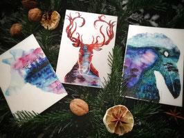 Animalistic Landscape Watercolor Postcard Set