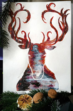 Deer Forest Original Aquarelle Painting
