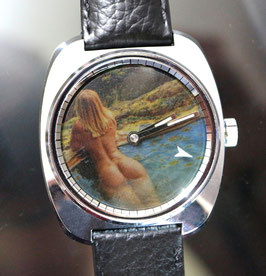 """Zurex Handaufzug Stahl, Swiss Made, mit Pola Spot Filter Sujet """"erotic 004"""", 70er Jahre"""