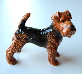 Original Goebel Porzellan Hund, Airedale Welsh Terrier braun