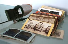 Antikes Stereoskop inkl. ca. 100 Stereobildern Europa-Destinationen, ca. 1900
