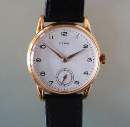 Cyma Vintage Herrenarmbanduhr, Gehäuse vergoldet, ca. 1955, mit Sekundenanzeige, Swiss Made