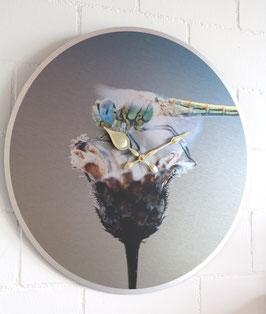 XL Wanduhr Sujet Libelle - 55 cm Durchmesser - Direktdruck auf silber gebürstete Aluminium-Platte