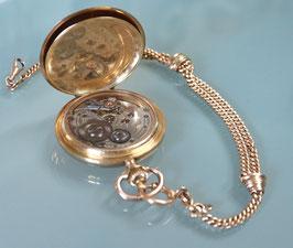 Gold-Taschenuhr Savonette - System Glashütte, inkl. vergoldeter Kette - ca. 1900 bis 1910