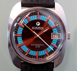 Roamer Automatik 315 mit neuem Glas und Kautschuk-Armband, 70er Jahre