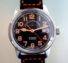 Zeno Watch Classic Pilot Automatik mit orangen Ziffern - 2 Jahre Garantie