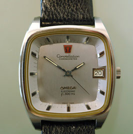 Omega Electronic f300 Hz Stimmgabel Constellation Chronometer, Stahl, 70er Jahre