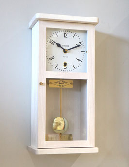 Miniatur-Wanduhr Massivholz Buche weiss, Bauhaus-Design, Made in Switzerland, neu 2018, 2 Jahre Garantie