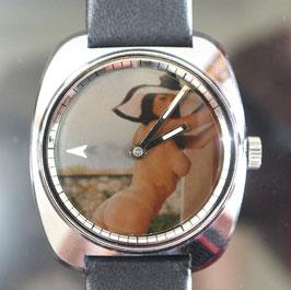 """Zurex Handaufzug Stahl, Swiss Made, mit Pola Spot Filter Sujet """"erotic 001"""", 70er Jahre"""