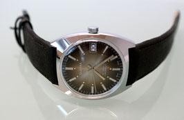Clarna Handaufzug Stahl, Swiss Made, Jahrgang 1975-1980, Zifferblatt Braun, Lederarmband schwarz