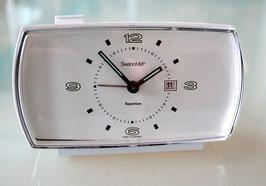 """Repetitionswecker """"SwanoMat"""" mit Datum,  elektromechanisch mit Uhrwerk, Batterie 1,5 V, 1970er Jahre"""