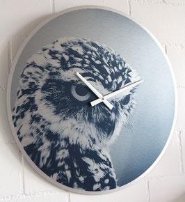 XL Wanduhr Sujet Eule - 55 cm Durchmesser - Direktdruck auf silber gebürstete Aluminium-Platte