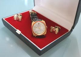 Komplett-Set - BULER Uhr mit Manschetten-Knöpfe, Swiss Made, Original Vintage 70er Jahre