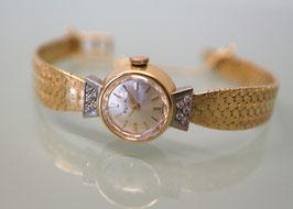 Kurz Damenarmbanduhr - 18 Karat Gelbgold mit 10 Brillanten, 1965 - Handaufzug