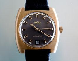 BWC Swiss Herren-Armbanduhr, Automatik, Edelstahlgehäuse  Goldfarben beschichtet in Kissenform, Swiss Made