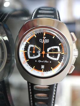 """CLARO Quartz """"Sport Star"""" Chronograph Stahl mit schwarzem Zifferblatt - 2 Jahre Garantie"""